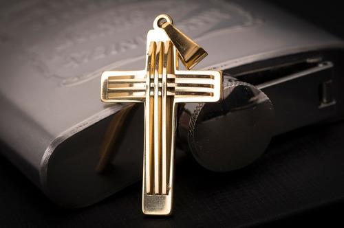 pingente p/ corrente aço inox crucifixo j-296 banhado ouro