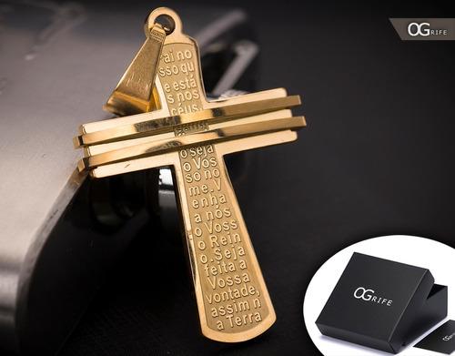 pingente p/ corrente aço inox crucifixo j-305 banhado