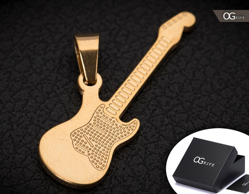 pingente p/ corrente aço inox guitarra j-293 banhado ouro