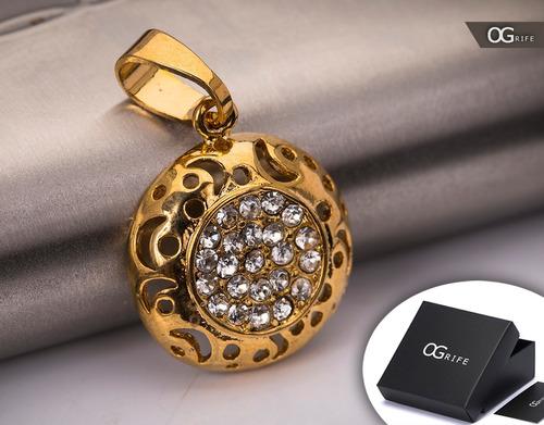 pingente p/ corrente aço inox j-308 banhado ouro brilho