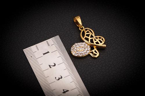 pingente p/ corrente aço inox j-310 banhado ouro borboleta