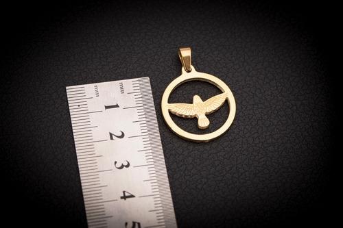 pingente p/ corrente aço inox j-312 banhado ouro passaro