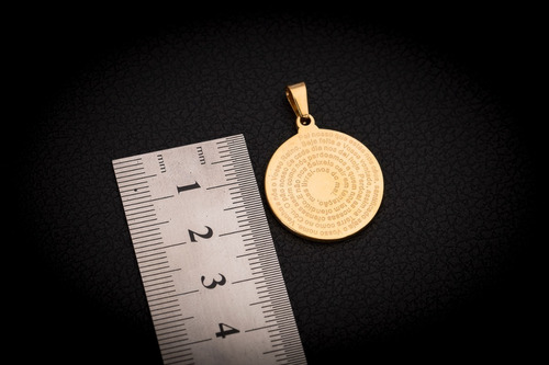 pingente p/ corrente aço inox j-313 banhado ouro pai nosso
