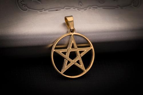 pingente p/ corrente aço inox pentagrama j-299 banhado ouro