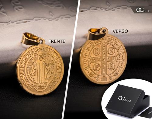 pingente p/ corrente aço inox são bento j-301 banhado ouro