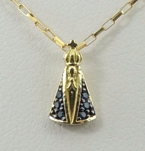 Pingente P Nossa Senhora Aparecida Ouro 18k 750 Manto Azul - R  175,00 em  Mercado Livre 684c3e46ef
