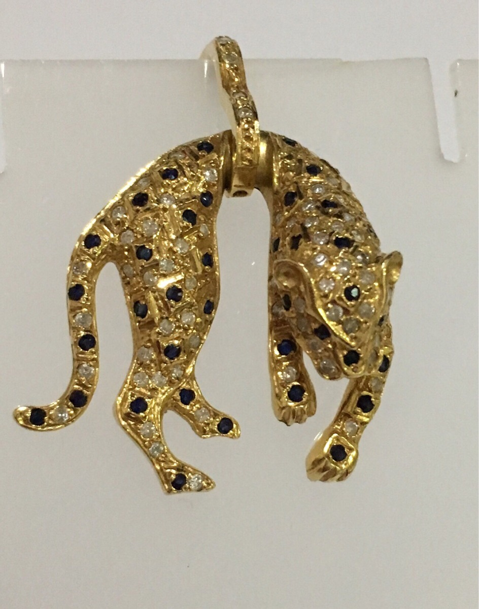 37c6923d488f2 pingente pantera ouro 18k safiras e brilhantes antigo. Carregando zoom.