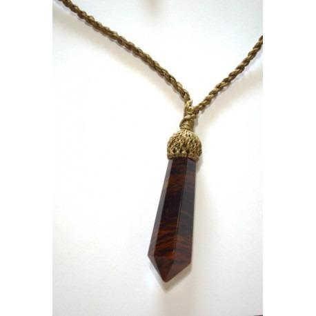 pingente pedra natural obsidiana com cordão