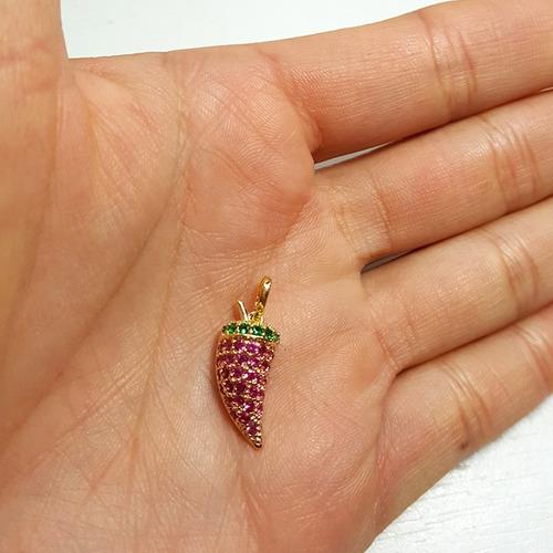 pingente pimenta em zircônia colorida semijoia bruna mb 1152