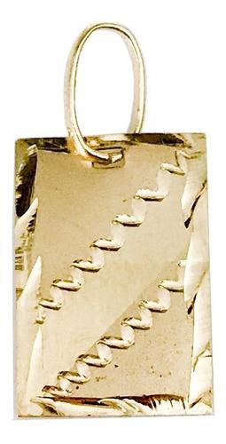 pingente placa ouro 18k 2cm de comprimento