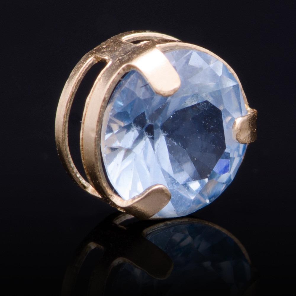 7e915c8e3b34b pingente ponto de luz com zircônia azul 6mm em ouro 18k -750. Carregando  zoom.