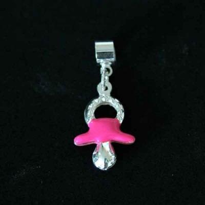 pingente prata 925 chupeta menina cor rosa para pulseira mo