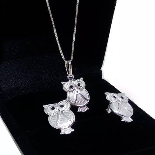 pingente prata 925 coruja + brinco conjunto kit colar 45cm