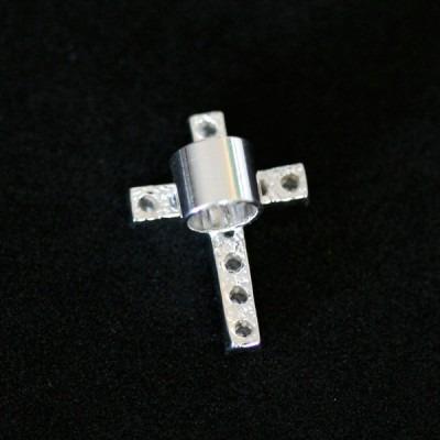 pingente prata 925 cruz cravejada para pulseira momentos de