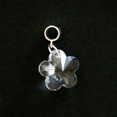 pingente prata 925 flor de cristal para pulseira momentos d