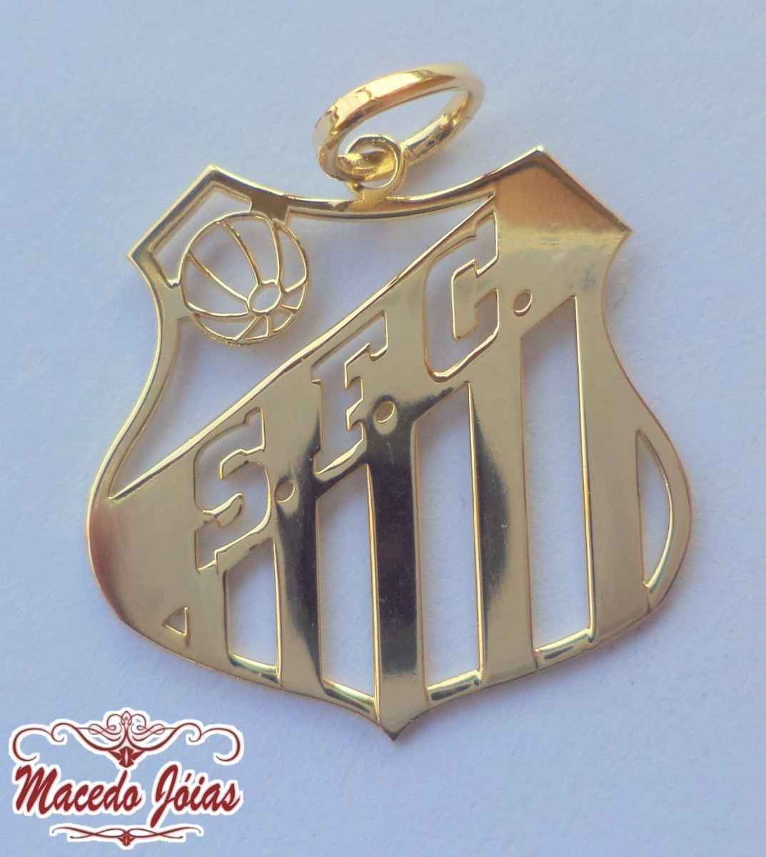 pingente prata banho ouro time santos futebol clube belmiro. Carregando  zoom. 8e7d487e923db