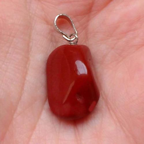 pingente prateado de jaspe vermelho natural