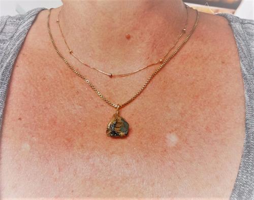pingente quartzo rutilado bruto em ouro 18k (750). encomende