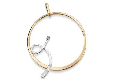 pingente redondo fio torcido em ouro rommanel