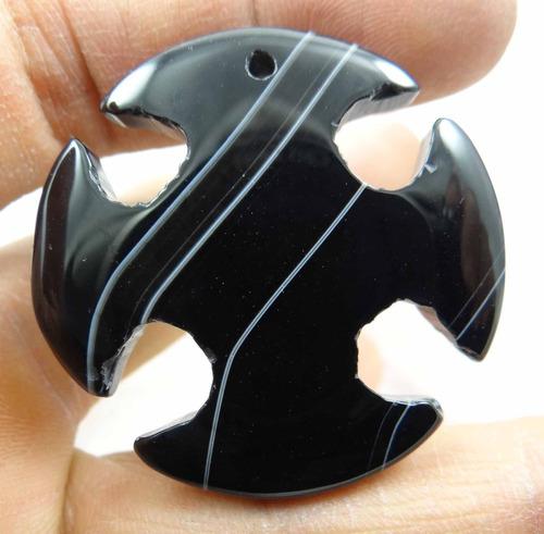 pingente redondo pedra preta feita em onix rajada - j1481