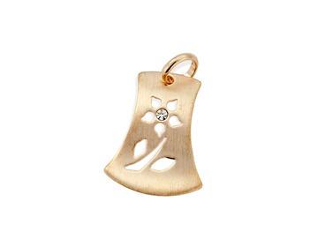 pingente retângulo irregular flor vazada ouro rommanel