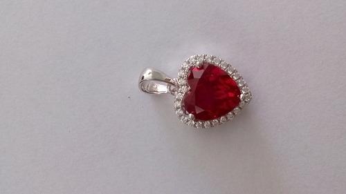 pingente ruby com zirconias  prata