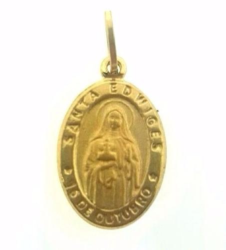 pingente santa edwiges em ouro 18k - 1.40 gramas