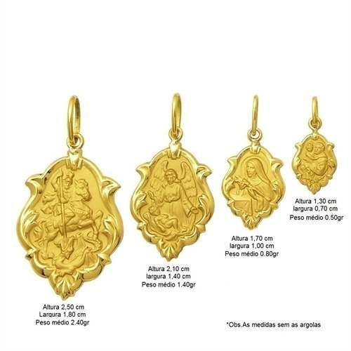 pingente santa terezinha em ouro 18k ornato 2,10cm k130