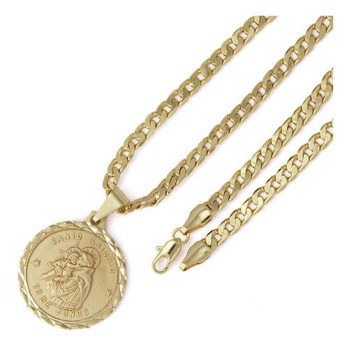 pingente santo antônio + corrente 5mm folheado a ouro 18k