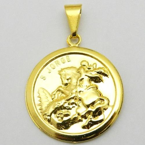 pingente sao jorge 23mm folheado ouro pi126