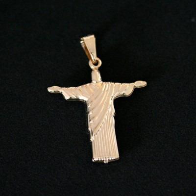 pingente semi jóia folheado a ouro cristo redentor
