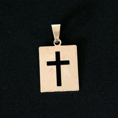 pingente semi jóia folheado a ouro cruz