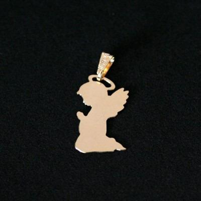 pingente semi jóia folheado a ouro good angel