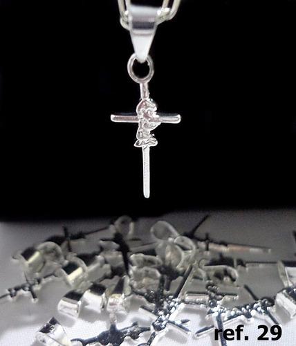 pingente semi joia folheado prata cruz anjo guarda banhado