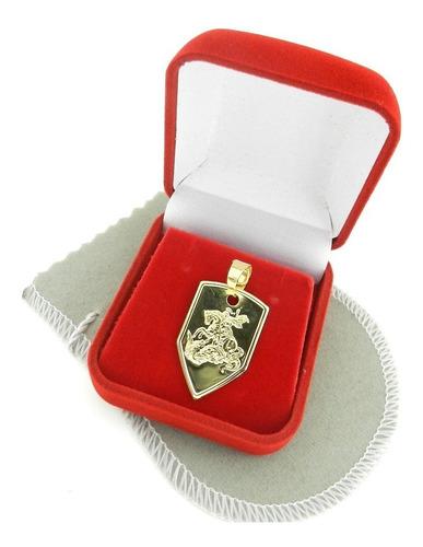 pingente são jorge 28mm folheado ouro pi134