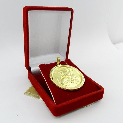 pingente são jorge 4cm folheado ouro pi137