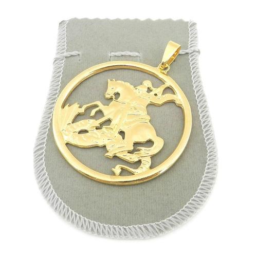 pingente são jorge 6cm folheado ouro pi136