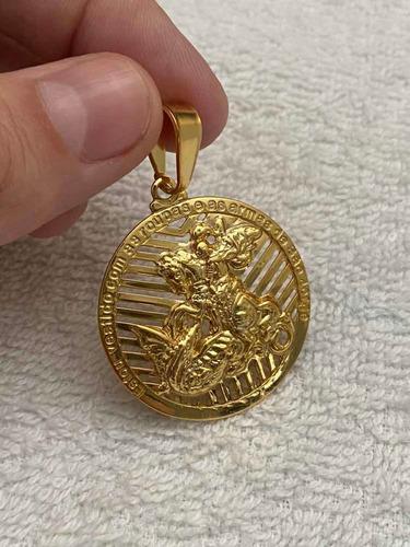 pingente são jorge banhado a ouro 18k para cordão até 5mm