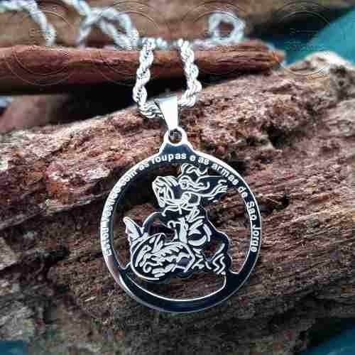 pingente são jorge e cordão corrente baiana prata aço inox