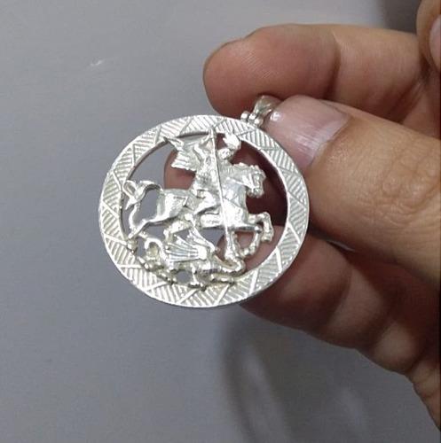 pingente são jorge e o dragão em prata maciça 950  pg16