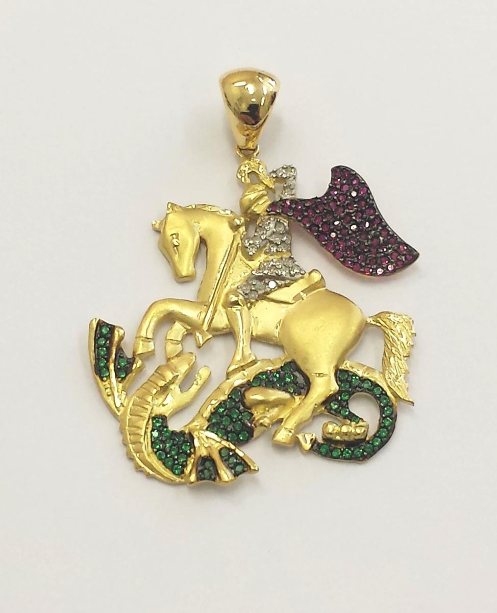 pingente são jorge, ouro 18kt pedras- rubi,esmeralda,brits. Carregando zoom. 0ff1a2d094