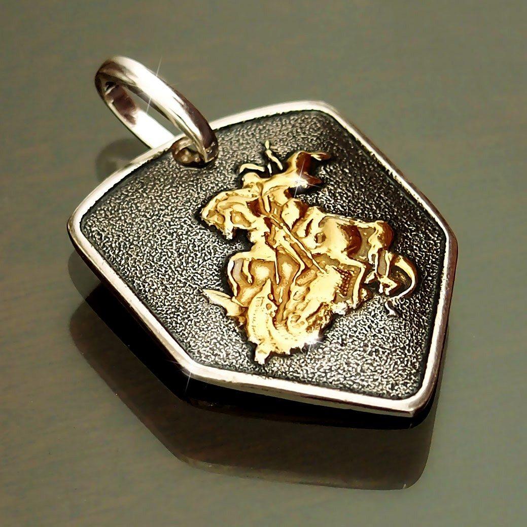 pingente são jorge prata 925 + banho ouro escudo masculino. Carregando zoom. f3968390ae