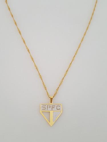 pingente são paulo f.c. + gargantilha banhada ouro. c1p76