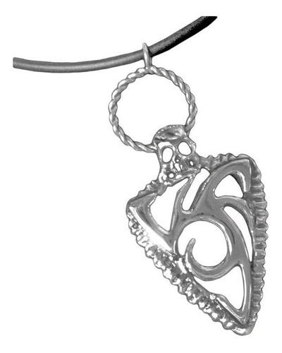 pingente tribal caveira em prata com cordão