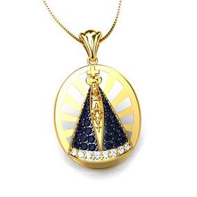 21095e4c611bb Pingente Nossa Senhora Aparecida Ouro 18k Diamante Safira