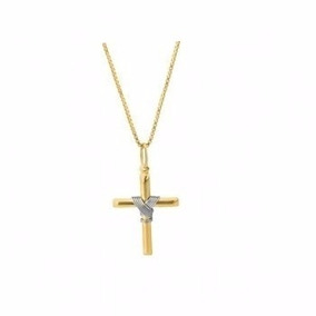 b5d8b29889943 Cordão Modelo Fita Com Pingente Cruz Em Ouro 18k 750 - Pingentes de ...