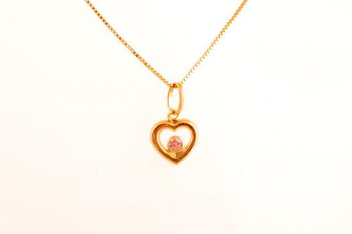 pingete coração vazado c/zircônia,ouro 18kt