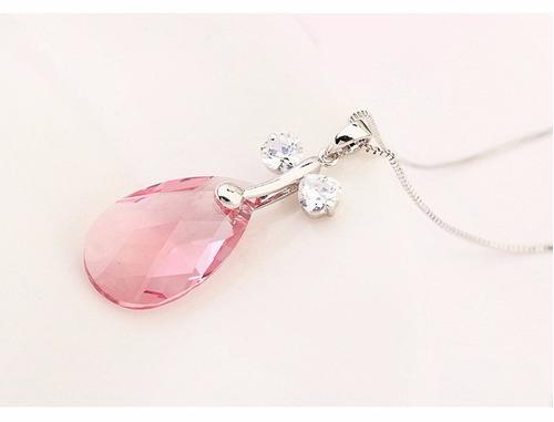 pink crystal drop necklace