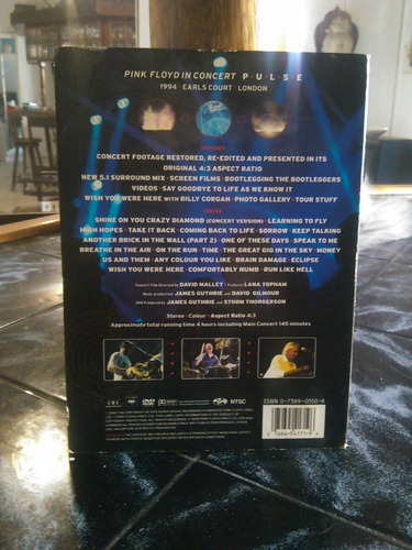 pink floyd pulse dvd, doble, original.