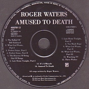pink floyd...roger waters amused to death cd